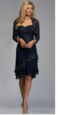 2015 New Fashion Sheath Sweetheart Three Quarter Sleeve Mother of the Bride Dress with Jacket and Beads