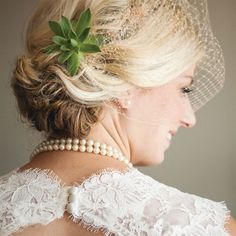 Low # wedding updo with succulent!!