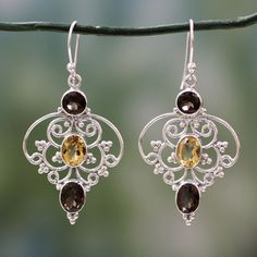 NOVICA Indian Sterling Silver Earrings with Smokey Quartz & Citrine (79 AUD) ❤ liked on Polyvore featuring jewelry, earrings, citrine, dangle, indian earrings, sterling silver indian jewelry, sterling silver dangle earrings, sterling silver jewellery and indian jewelry
