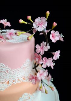 Cake is done by http://www.mariasdreamcakes.com/ The Cherry Blossoms are made by me :) https://www.etsy.com/listing/220534275/3-gumpaste-cherry-blossom-branches-for?ref=shop_home_active_18
