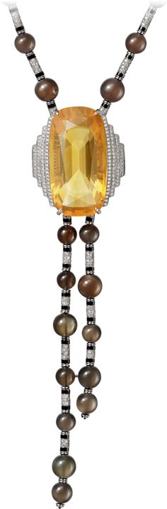 "CARTIER. {Close up} ""Lacis"" Necklace - platinum, one 42.13-carat cushion-shaped fire opal, gray moonstone beads, onyx, black lacquer, orange and white brilliant-cut diamonds."