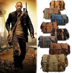 Men's Vintage Canvas Leather Satchel School Military Shoulder Bag Messenger Bag
