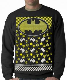 Official Batman Ugly Christmas Sweater Sweatshirt Black Batman, Im Batman, Batman Stuff, Superman, Batman Love, Batman T Shirt, Ugly Sweater Party, Ugly Christmas Sweater, Xmas Sweaters