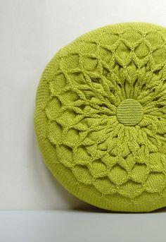 Knitted Circular Waffle Cushion. Chartreuse Green, via Etsy.