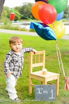 First year boys birthday idea. The chair is a good idea especially if the baby can't stand long on his own for long 1 Year Birthday, Baby Birthday, 1st Birthday Parties, Birthday Ideas, Pumpkin 1st Birthdays, First Birthdays, 1st Birthday Pictures, Happy Birthday Dear, Picture Ideas
