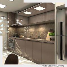 """2,675 curtidas, 25 comentários - ArquiteturadeCoração (@arquiteturadecoracao) no Instagram: """"Cozinha monocromática em tom de fendi com destaque para a porta vazada branca. Por Claudiny. •Ad❤️•…"""""""