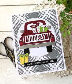 Truckin' with B-day Wishes by cullenwr - Cards and Paper Crafts at Splitcoaststampers Masculine Birthday Cards, Masculine Cards, Thanksgiving Cards, Holiday Cards, Spellbinders Cards, Present Wrapping, Stamping Up Cards, Day Wishes, Shaker Cards