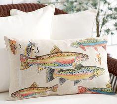 Trout Indoor/Outdoor Lumbar Pillow | Pottery Barn $39.50