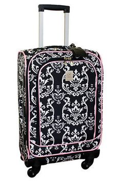 Jenni Chan 21 Damask Upright Spinner Carry On In Black & Pink
