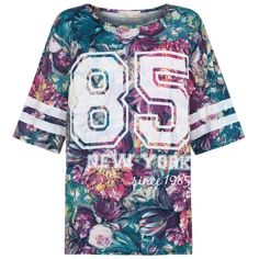 Cameo Rose Green Floral Print New York 85 Baseball T-Shirt ($10) ❤ liked on Polyvore featuring tops, t-shirts, shirts, jersey's, oversized t shirt, baseball style t shirts, green t shirt, baseball jersey shirts and floral t shirt