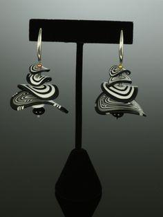 Petals Earrings in Black White Mix by Arden Bardol (Polymer Clay Earrings)   Artful Home