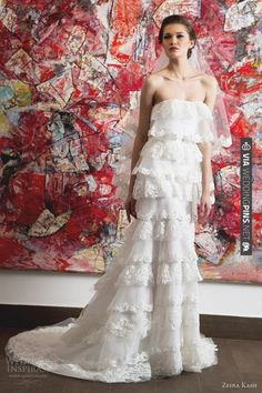 Zeina Kash 2013 collection...Strapless tiered lace gown. | VIA #WEDDINGPINS.NET