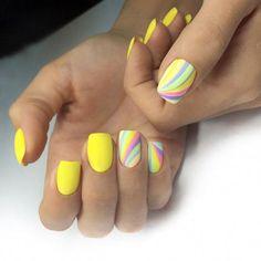 impressive yellow nails designs - Page 6 of 10 - Shellac Nails, My Nails, Nail Polish, Acrylic Nails, Trendy Nails, Cute Nails, Yellow Nails Design, Nagellack Trends, Easter Nails