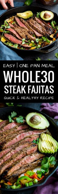 One pan steak fajitas. Fajitas in 30 minutes or less. Paleo steak fajitas recipe here. Healthy, gluten free, dairy free, paleo and steak fajitas recipe. paleo lunch for one Easy Whole 30 Recipes, Best Paleo Recipes, Easy Dinner Recipes, Beef Recipes, Whole Food Recipes, Whole30 Recipes, Chicken Recipes, Paleo Meals, Lunch Recipes