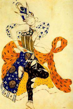 Costume design by Leon Bakst for La Péri, 1911