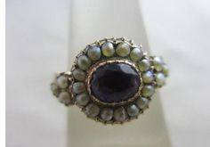 Antique Victorian 15ct Yellow Gold Seed Pearl Amethyst Mourning Ring Size M+