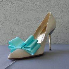 Tiffany Blue Satin Ribbon Bow Shoe Clips Set Of by Chuletindesigns, $15.00