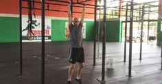 He is going to be demonstrating the progressions for the kipping pull-up. The kipping pull-up is very popular in CrossFit. There are some who say that it's cheating to do a kipping pull-up.