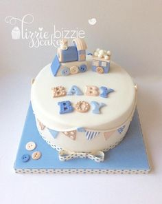 Baby Shower Cakes Neutral, Idee Baby Shower, Baby Shower Cakes For Boys, Baby Boy Cakes, Fondant Cakes, Cupcake Cakes, Gateau Baby Shower, Baby Birthday Cakes, Baby Shower Winter