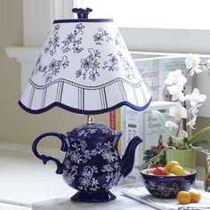 temp-tations® Floral Lace Teapot Lamp :: temp-tations® by Tara in Blue