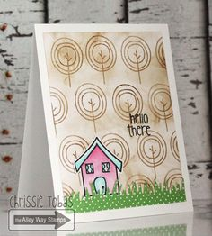 Chrissie Tobas of Harvest Moon Papiere: Hello There!, The Alley Way Stamps, TAWS, cards, clear stamps, Mrs. Roger's Neighborhood