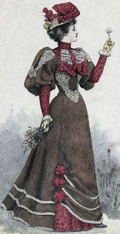 c.1892-93. Such a refined look! Colors are great too: chocolate and cranberry.
