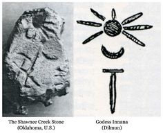 Left: Inanna, Goddess of Love and Queen of Heaven. Right: Inanna in Dimlun