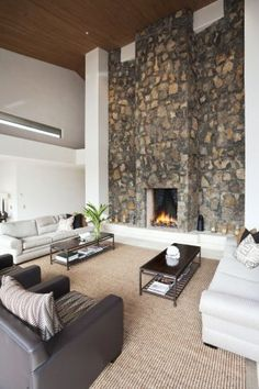 Tall stone fireplace Tall Fireplace, Fireplaces, Great Rooms, New Homes, Dining Room, Lounge, Construction, Contemporary, Landscaping