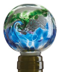 Look what I found on #zulily! Blue & Green Van Glow Kitras Wine Stopper by Kitras Art Glass #zulilyfinds