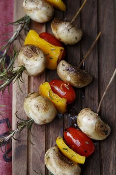 Mushroom Skewers...I need to start using my rosemary for skewers, this one looks yummy.  Shrimp, salmon, chicken...I'm getting hungry, fire up the barby