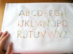 Feather stitch alphabet Embroidery Alphabet, Cross Stitch Alphabet, Modern Embroidery, Embroidery Patterns, Font Alphabet, Cross Stitching, Cross Stitch Embroidery, Hand Embroidery, Cross Stitch Patterns