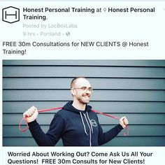Do you have questions about working out, nutrition, the classes at Honest? Do you want to sit down with one of the badass trainers from Honest and pick their brain? Or do you just want to come in and meet us?! It's your lucky day! Free 30m consultations for new clients happening now! #clicklinkinbio  #honestpdx #honestportland #workouttips #fitnesstips #nutrition #smallgrouptraining #portlandgym #gym #fitness #personaltrainer #indoorcycling #fitness #motivation #community