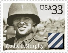 Audie Leon Murphy was born on a sharecropper's farm in northeast Texas on June… Alsace, Kingston, Medal Of Honor Winners, Historia Universal, Commemorative Stamps, Virginia, Texas History, Picture Cards, Stamp Collecting