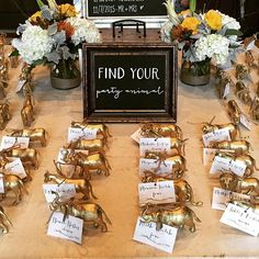 """Find your party animal"" escort card table. #adorable #weddings #weddingdetails #escortcards #atlantaweddings"