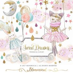 A whimsical digital graphics collection featuring an adorable kitty character, a cute rabbit doll, balloons, stars, moon, clouds, stars, tear drops, glitter and sparkles.  The cliparts are hand drawn and painted by me. You will receive 30 individual graph