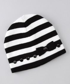 Take a look at this Black & White Bittersweet Beanie by Hula Mula on #zulily today!