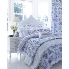 DorDorma Avignon Housewife Pillowcase, Blue: A traditional print in royal blue across a white background, bringing a peaceful… #ShoppingUK