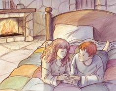 Fan Art of All-Nighter for fans of Romione 73651 Harry Potter Ron And Hermione, Harry Potter Artwork, Harry Potter Drawings, Harry Potter Anime, Harry Potter Books, Harry Potter Universal, Harry Potter Fandom, Ron Weasley, Lestrange Harry Potter