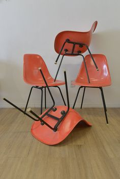 Original Vintage Eames Salmon Fiberglass Shell Chairs - Set of 4 or 8 on Etsy, $1,295.00
