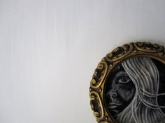 A face in the Dark halloween vintage circle gold by shellieartist (Art & Collectibles, Mixed Media & Collage, original, fabric, gold vintage frame, rustic, woman face, black white, halloween, dark, night, spooky, melancholy, light shadows, theteam)