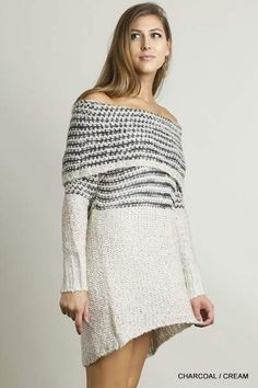 fe3db09056d UMGEE off shoulder sweater charcoal cream knit dress