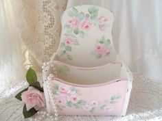 ROMANTIC STORAGE CADDY hp roses chic shabby vintage cottage hand painted chippy #VINTAGE