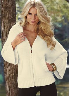 Off White Zip front cardigan from VENUS. Sizes XS-XL!