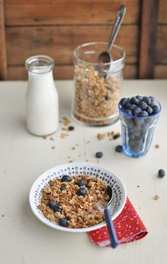 Homemade Granola and Blueberry Granola Parfait