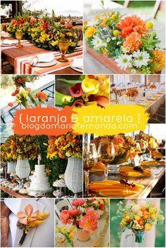 Decoração de Casamento : Paleta de Cores Laranja e Amarelo   http://blogdamariafernanda.com/decoracao-de-casamento-paleta-de-cores-laranja-e-amarelo