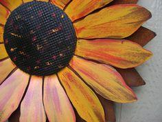 Sunflower - 2 feet wide, Sculptured Metal Sunflower, Sunflower Wall Hanging, Painted Flower