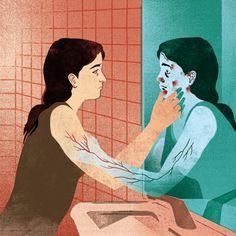 """Rys. Katarzyna Bogdańska.   Ilustracja pochodzi z artykułu Ireny Cieślińskiej: """"Dolegliwości psychosomatyczne. Gdy czynniki psychiczne są zapalnikiem problemu"""""""