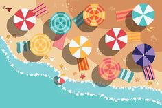 Check out Beach Flat Design - aerial view by Blue Lela Illustrations on Creative Market