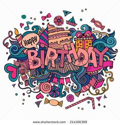 Birthday hand lettering and doodles elements background vector art illustration Happy Birthday Doodles, Happy Birthday Art, Birthday Images, Birthday Cake Greetings, Birthday Clipart, Birthday Cards, Sketch Note, Balloon Illustration, Doodle Characters