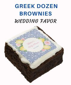 These fresh baked, fudgy brownies are glazed in a delectable white chocolate flavored icing and topped with Gric summer wedding themed icing features Hand Painted yellow lemons accented with pink watercolor flowers against a background pattern based on a vintage blue and white tile. You can customize this design, personalize and edit the text which makes it perfect for weddings, engagement parties and bridal showers. Wedding Giveaways For Guests, Wedding Gifts For Guests, Wedding Welcome Bags, Beach Wedding Favors, Wedding Favor Boxes, Summer Wedding, Personalised Wedding Invitations, Personalized Wedding Gifts, Artificial Food Coloring
